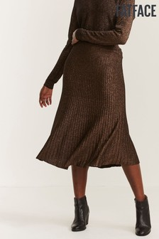 FatFace Brown Knitted Pleated Skirt