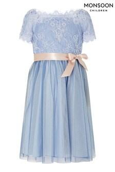 Monsoon Blue Lace Bodice Off-Shoulder Dress