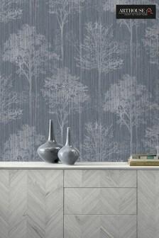 Arthouse Blue Stardust Tree Leaves Wallpaper