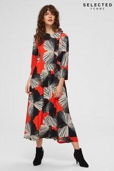 Selected Femme Orange Print Kairi Midi Dress