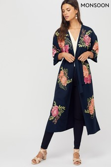Monsoon Ladies Blue Colleen Floral Embroidered Kimono