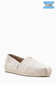 Toms Natural Daisy Metallic Alpargata Pump
