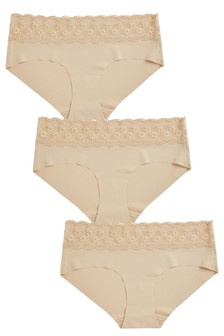 No VPL Lace Top Knickers Three Pack