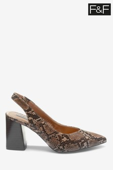 F&F Multi Point Block Heel Slingbacks