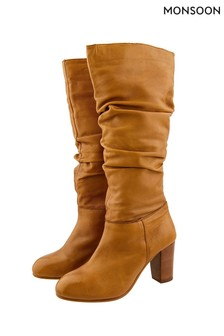 Monsoon Tan Sophie Leather Slouch Boots