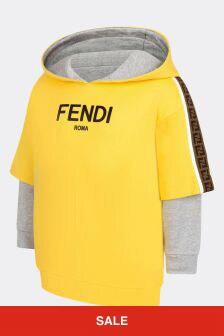 Fendi Kids Boys Yellow Cotton Hoody