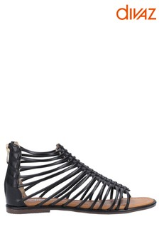 Divaz Black Gemma Gladiator Zip Sandals