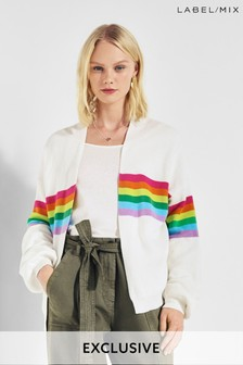 Mix/Madeleine Thompson Rainbow Stripe Cardigan