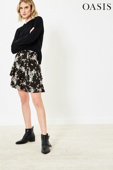 Oasis Black Dandelion Flippy Skirt