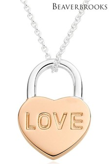 Beaverbrooks Silver And Rose Gold Plated Heart Padlock Pendant