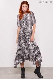 Mint Velvet Animal River Puff Sleeve Dress