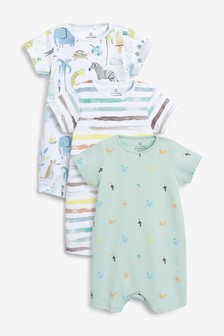 3 Pack Watercolour Safari Rompers (0mths-3yrs)