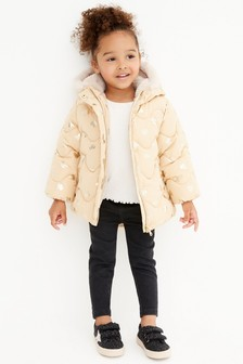 Padded Coat With Gold Foil Heart Print (3mths-7yrs)