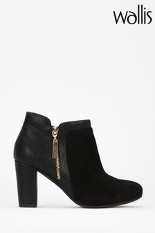 Wallis Black Annaluna Mix Material Side Zip Boots