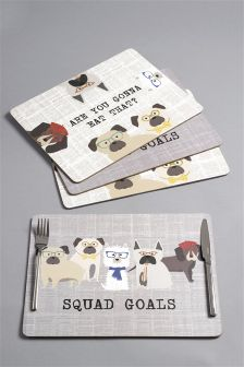 4 Pack Pugs & Co Table Mats Placemats