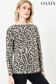 Oasis Natural Animal Knot Back Cosy Top