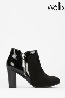 Wallis Black Annaluna Glitter Mix Material Side Zip Boots