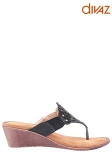 Divaz Black Felicity Toe Post Sandals