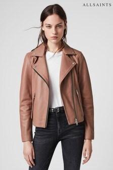 AllSaints Soft Pink Leather Dalby Biker Jacket