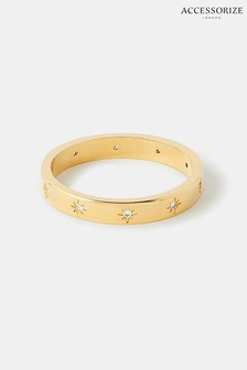 Accessorize Gold Ring Z Sparkle Star Band Ring