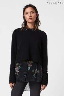 AllSaints Black Double Layer Blouse And Jumper