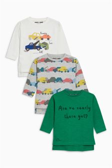 Car Print Long Sleeve Tops Three Pack (3mths-6yrs)