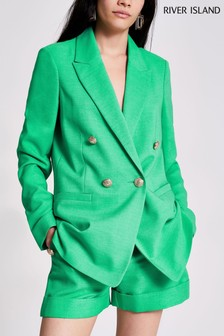 River Island Green Bright Blazer With Peaked Collar
