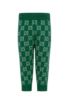 GUCCI Kids Baby Boys Green Knitted GG Joggers