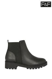 F&F Black Chunky Chelsea PU Shoes