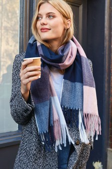 Recycled Polyester Check Print Scarf