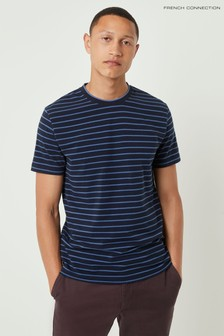French Connection Blue Tim Tim Stripe Crew T-Shirt