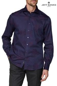 Jeff Banks Purple Large Floral Tonal Shirt Cutaway Collar