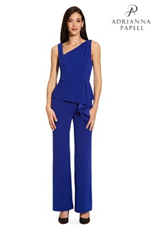Adrianna Papell Blue Asymmetrical Jumpsuit