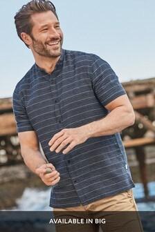 Kurzärmliges Grandad-Hemd aus Leinengemisch mit Streifen