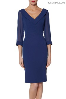 Gina Bacconi Blue Cynthia Crepe And Chiffon Dress