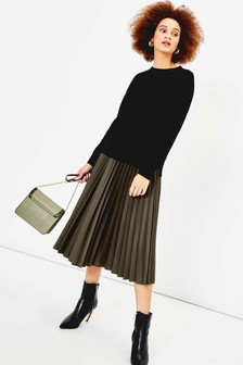 Oasis Green Faux Leather Midi Skirt