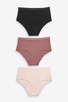 Ribbed Cotton Rich Midi Knickers Three Pack