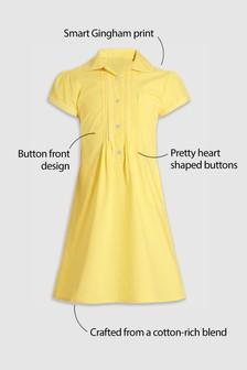 فستان دانتيل مربعات بأزرار من الأمام (3-14 سنة)