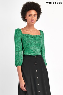 Whistles Green Sketched Floral Sweetheart Neck Top