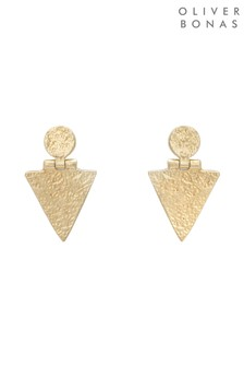 Oliver Bonas Gold Plated Zosk Circle & Triangle Hinge Stud Earrings