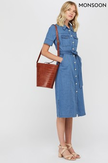 Monsoon Ladies Blue Gerri Denim Midi Dress