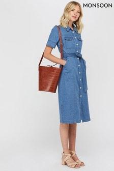 Monsoon Ladies Blue Gerri Denim Midi Dress
