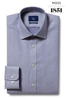Темно-синяя рубашка приталенного кроя с прямыми манжетами из кареточной ткани в горошек Moss 1851