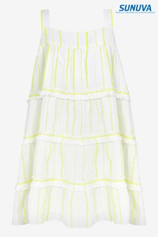 Sunuva Neon Yellow Stripe Fringed Tier Dress