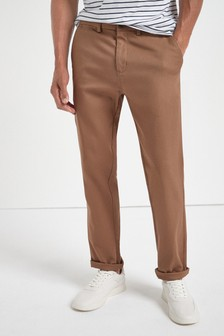 Straight Fit Tan Stretch Chinos