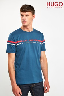 HUGO Blue Doutside Retro Stripe T-Shirt