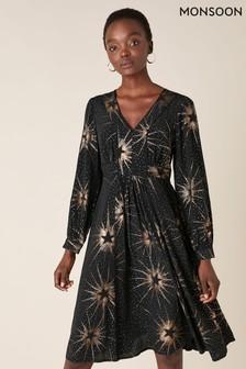 Monsoon Black Star Foil Print Midi Dress