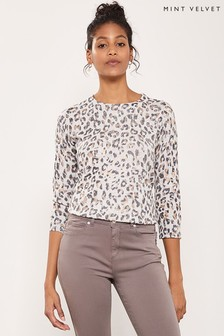 Mint Velvet Silver Grey Animal Crew Neck
