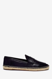 Espadrille Detail Leather Loafers