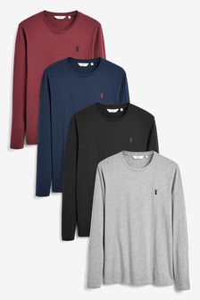 Long Sleeve Stag Regular Fit T-Shirts Four Pack